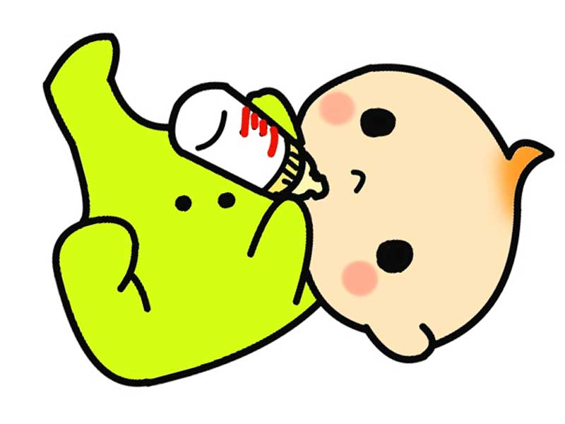 ミルクを飲んでいる赤ちゃんのイラスト