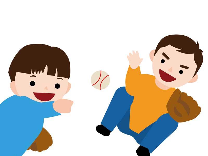 子供と遊んでいるお父さんのイラスト