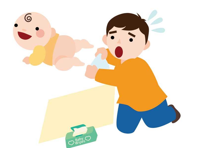 赤ちゃんにおむつ交換をしているお父さんのイラスト