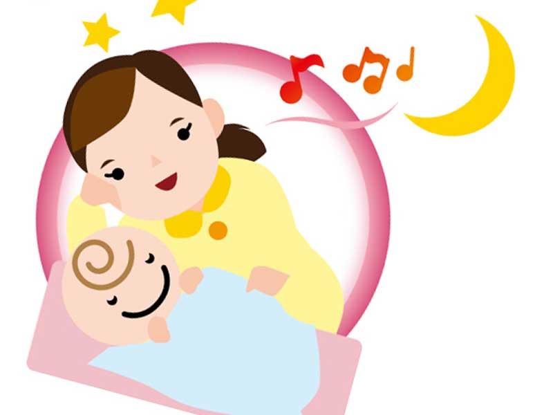 ママの歌を聴きながら喜んでいる赤ちゃんのイラスト