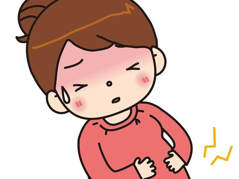 陣痛がきてる妊婦さんのイラスト