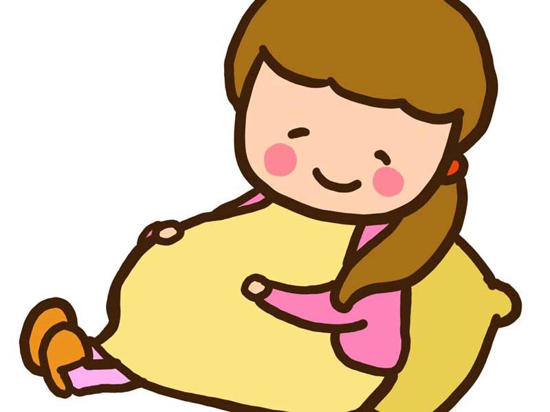 お腹を触る妊婦さんのイラスト