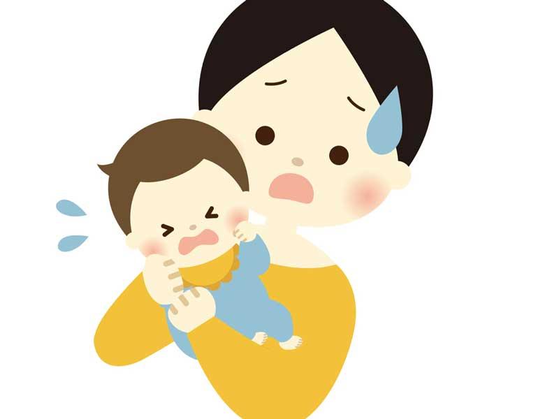 抱っこを嫌がる赤ちゃんのイラスト
