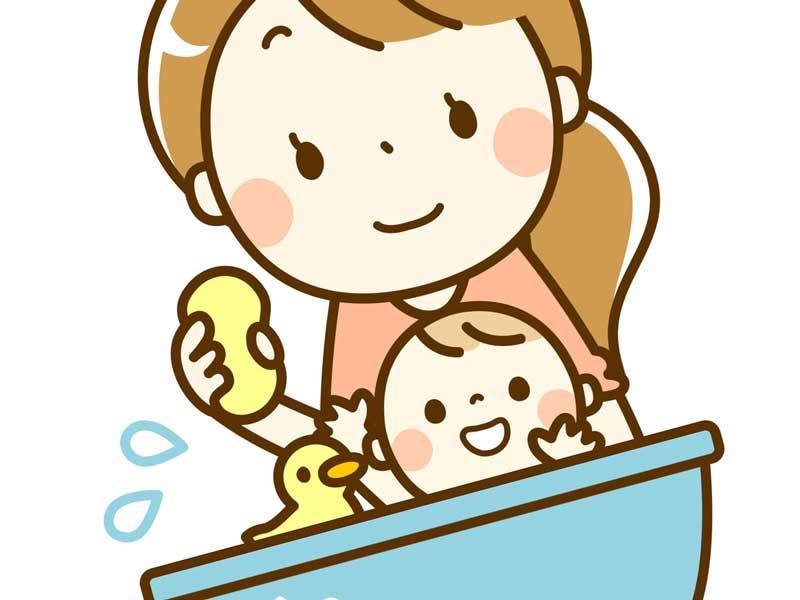 赤ちゃんと一緒にお風呂に入るママのイラスト