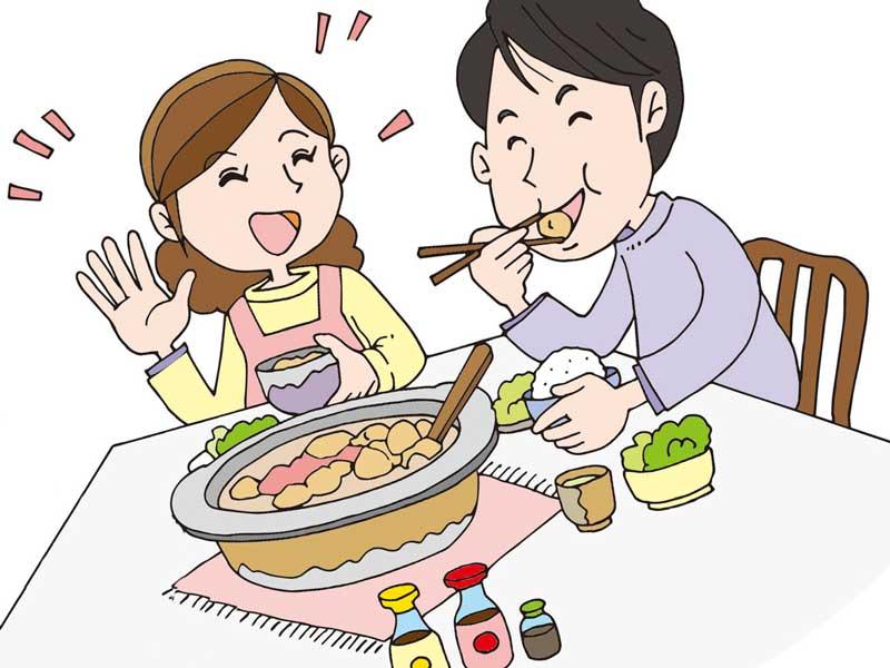 笑顔でごはんを食べている仲がいい夫婦のイラスト