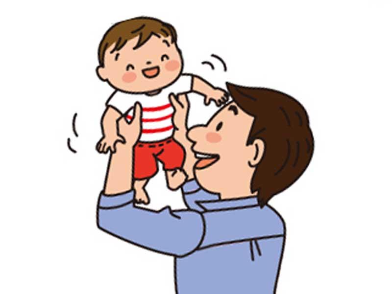 赤ちゃんの面倒を見るパパのイラスト