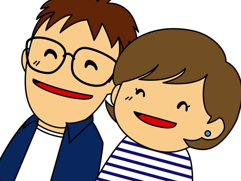 一緒に笑っている夫婦のイラスト