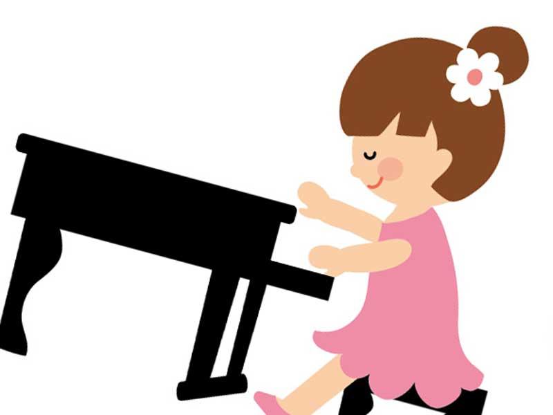 ピアノを弾いている子供のイラスト
