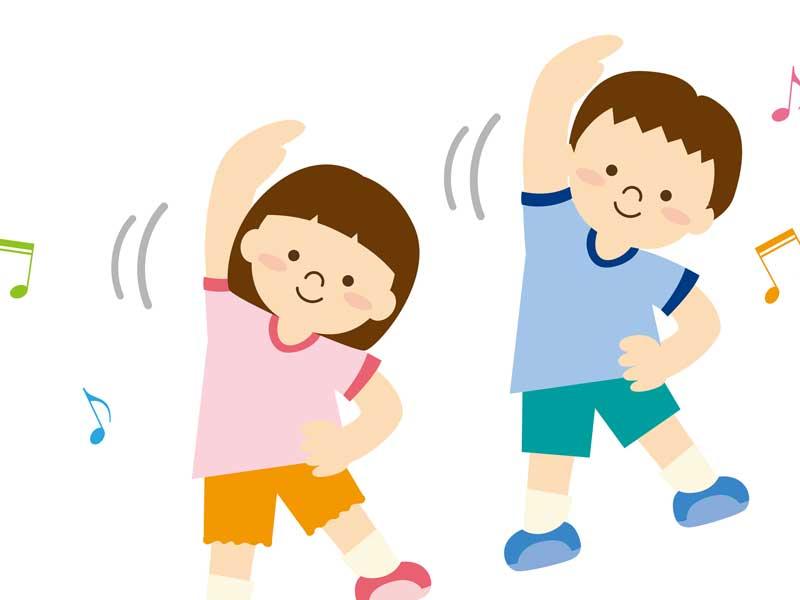 幼稚園で体操をしている子供達のイラスト