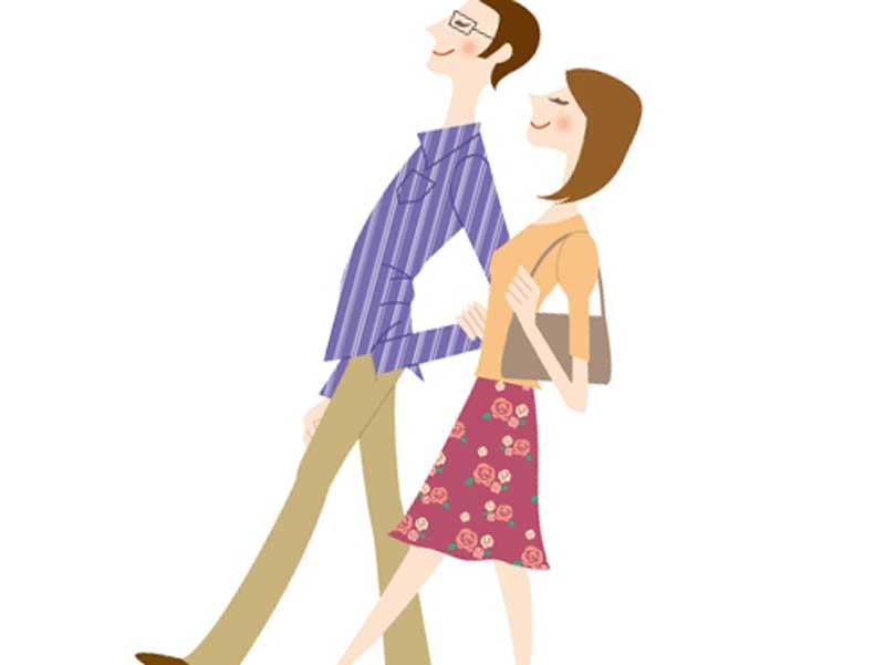 仕事帰りに一緒に帰る夫婦のイラスト