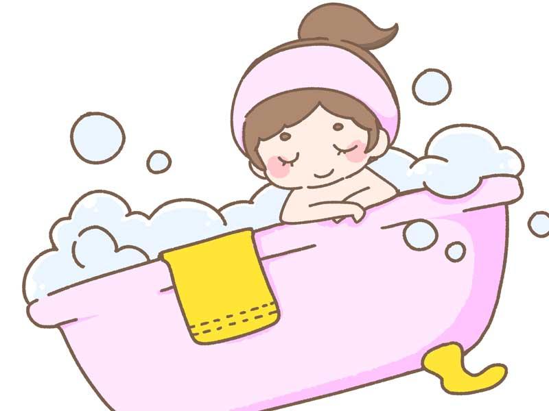 お風呂に入ってリラックスをしている妊婦さんのイラスト