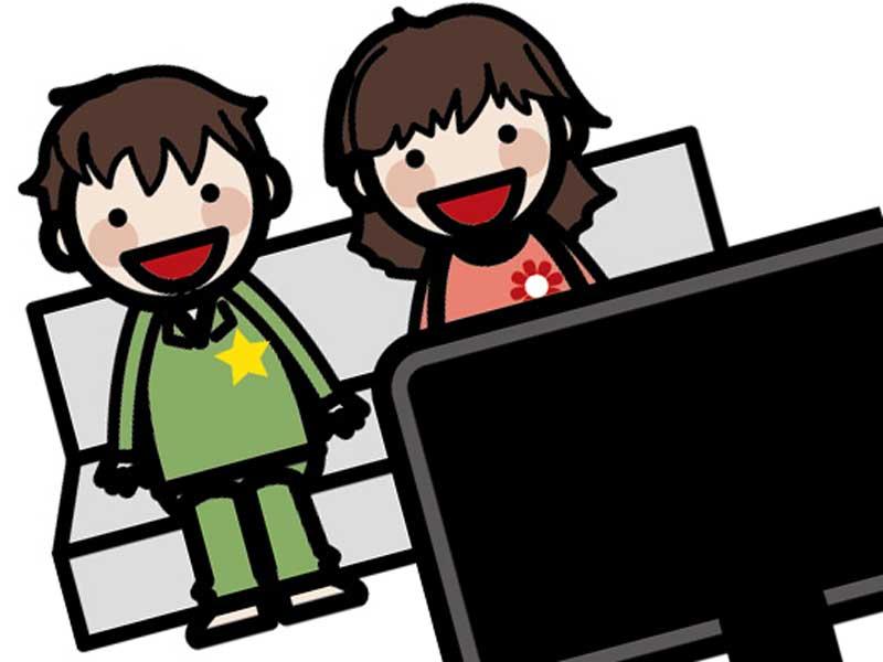 映画を見ている小学生達のイラスト