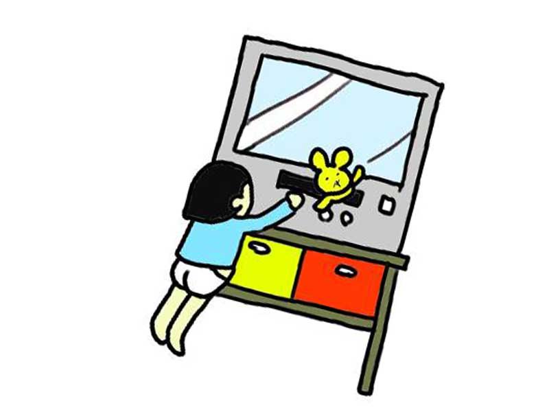 テレビを見たい子供のイラスト