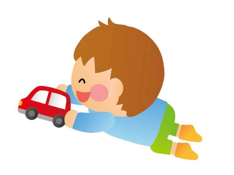 おもちゃで遊んでいる子供のイラスト