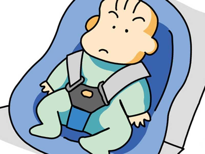 車の中にいる赤ちゃんのイラスト