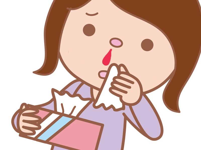 鼻血が止まらない妊婦さんのイラスト