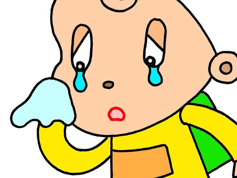 涙目の子供のイラスト