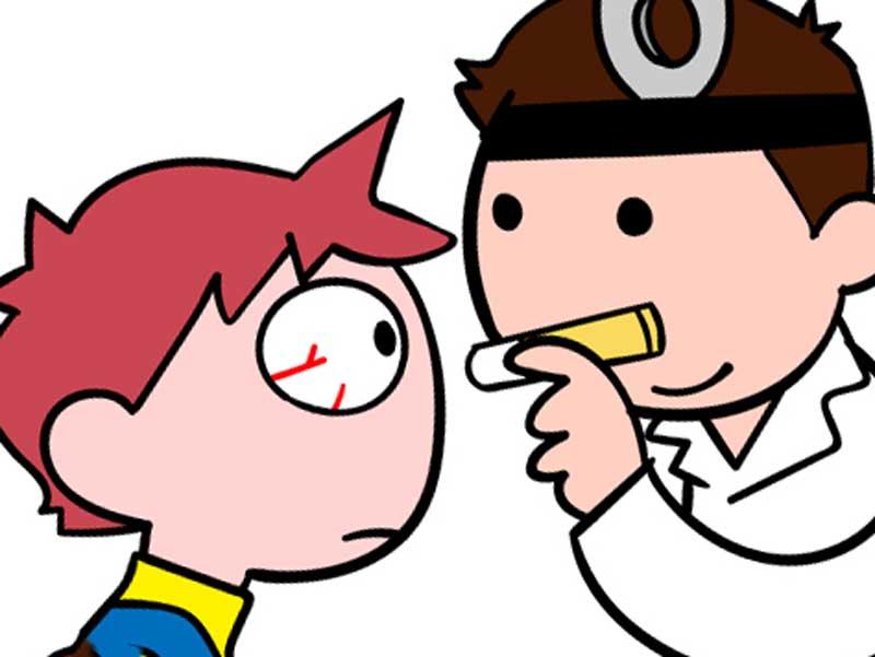 眼科を受診してる目が充血した男の子のイラスト
