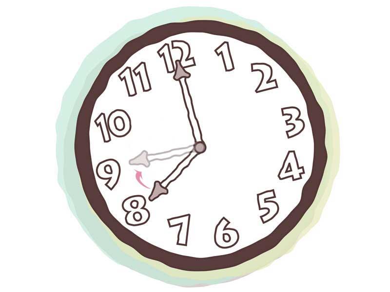 20~21時の時計のイラスト