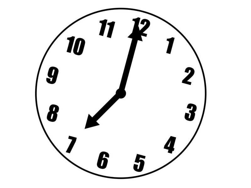 七時の時計のイラスト