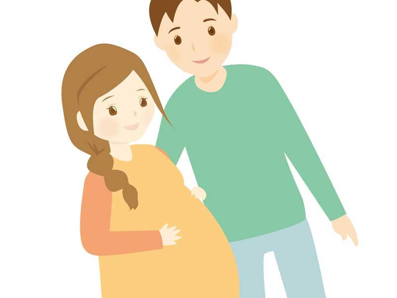 散歩している妊婦さんと旦那さんのイラスト