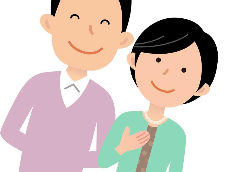 一緒に出かける夫婦のイラスト