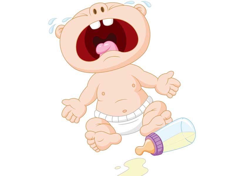ミルクを飲まずに泣いている赤ちゃんのイラスト