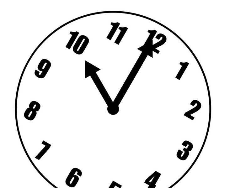 夜十時の時計のイラスト