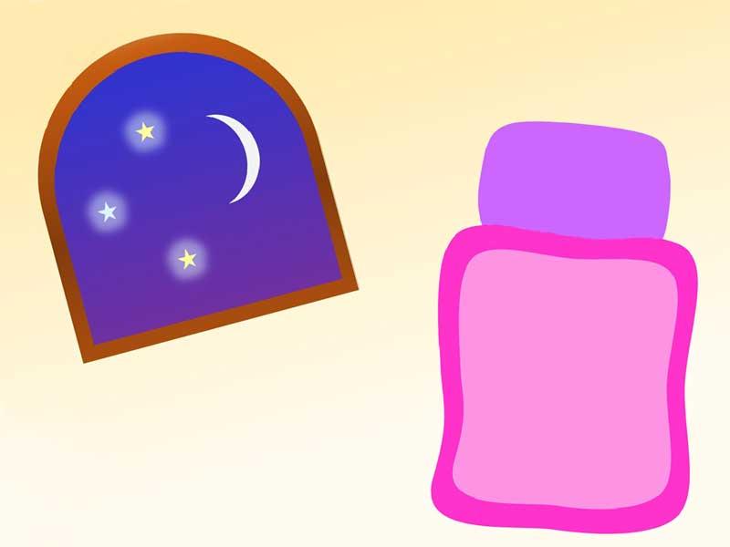 深夜の寝室のイラスト