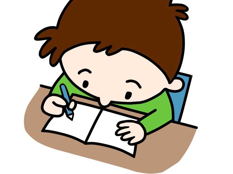 視力が低下して見にくそうに勉強している子供のイラスト