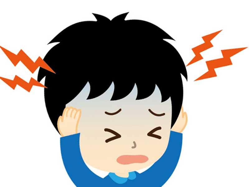 頭痛の子供のイラスト