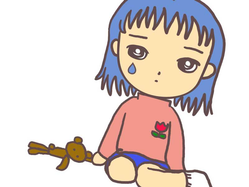 不安を感じる子供のイラスト