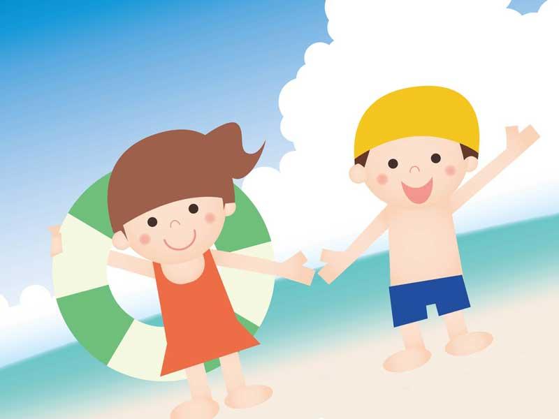 海辺で遊んでいる子供達のイラスト