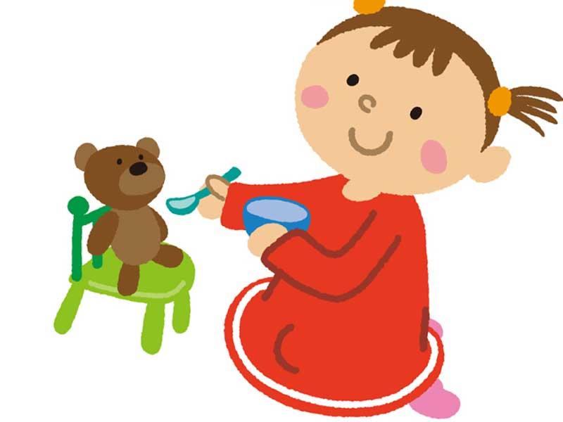 ごっこ遊びをしている子供のイラスト