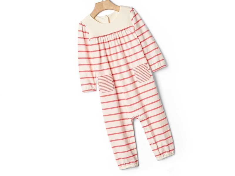 Organic shirred stripe one-piece