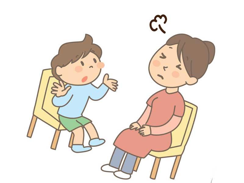 お母さんに議論を吹っ掛ける子供のイラスト