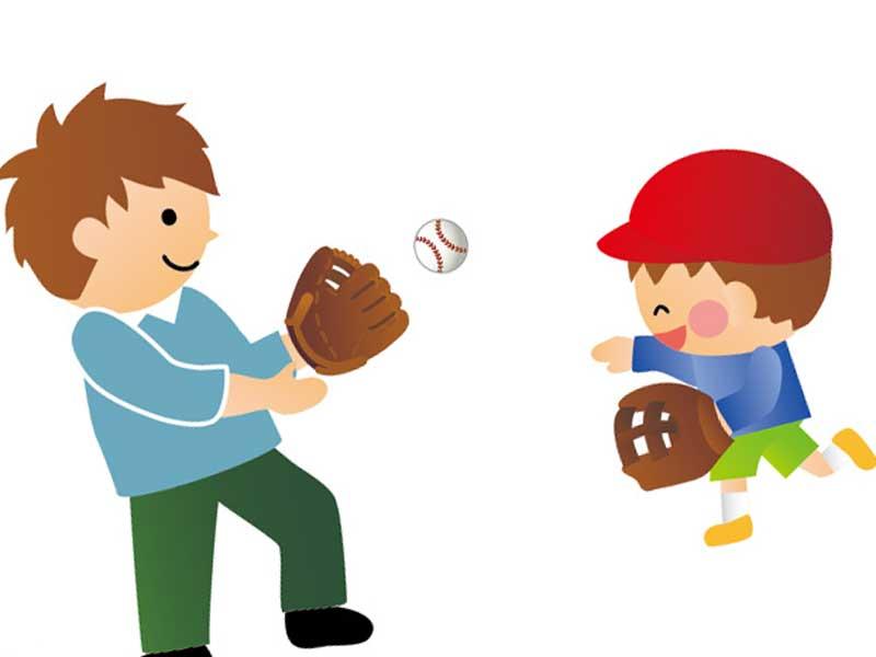 お父さんと遊んでいる子供のイラスト