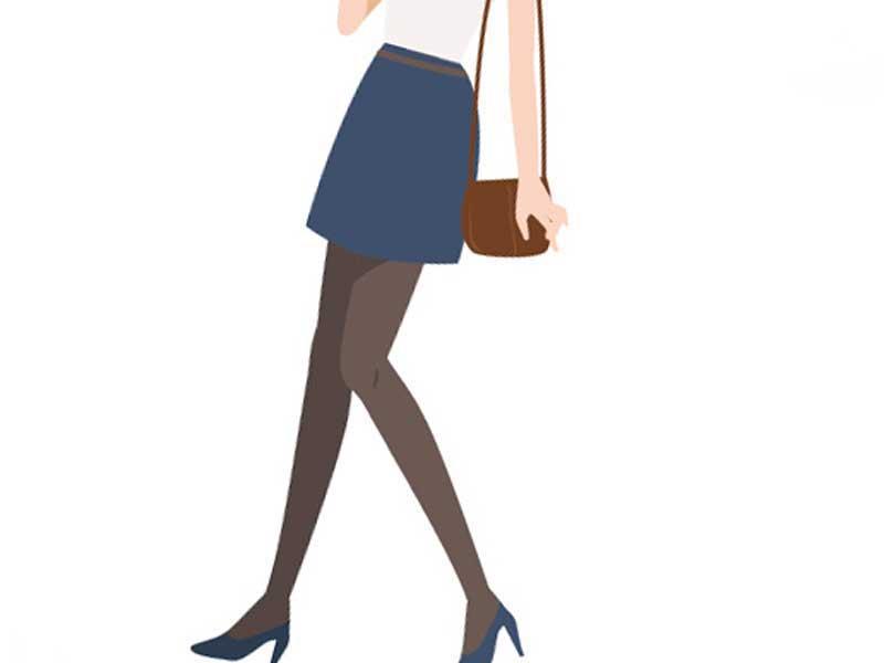 ミニスカートを穿くアラフォーママのイラスト