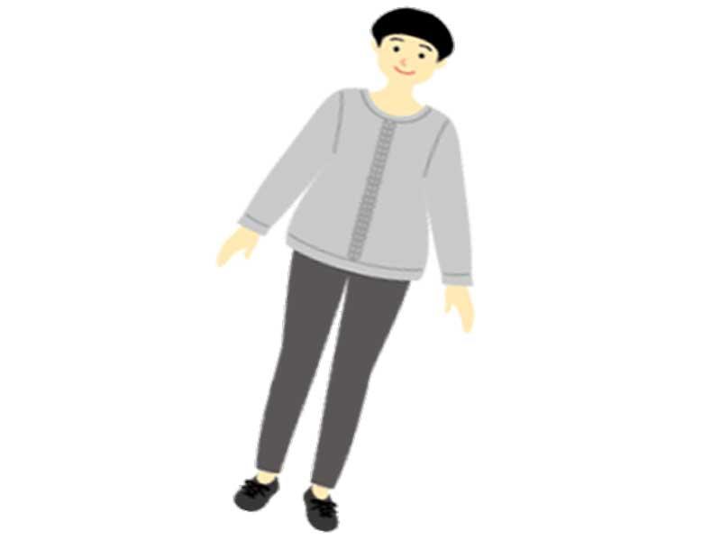 モノトーン系の服を着るアラフォーママのイラスト