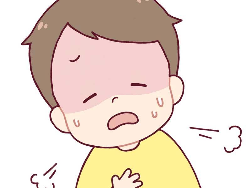 喘息でゼーゼーしている子供のイラスト