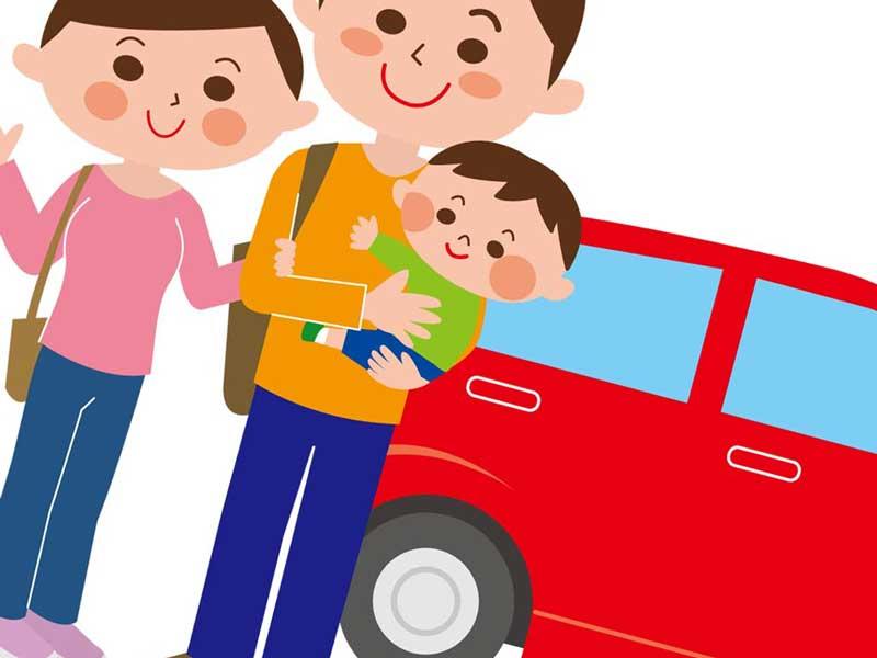 赤ちゃんを連れて旅行する家族のイラスト