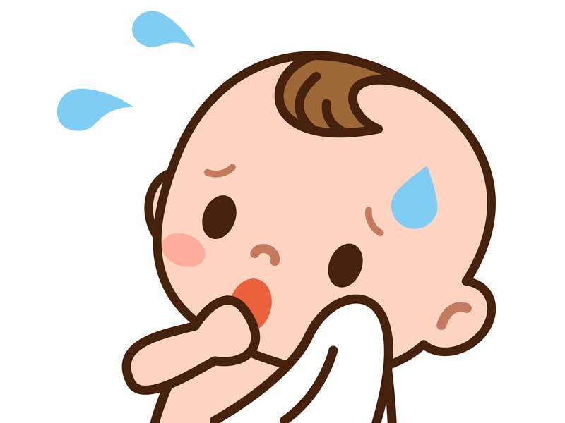 汗をかいている赤ちゃんのイラスト