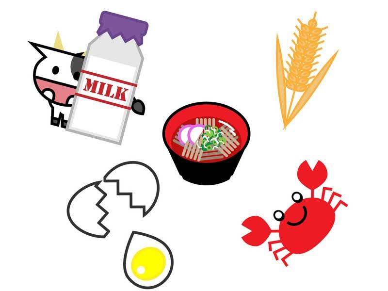 アレルギーの食物のイラスト