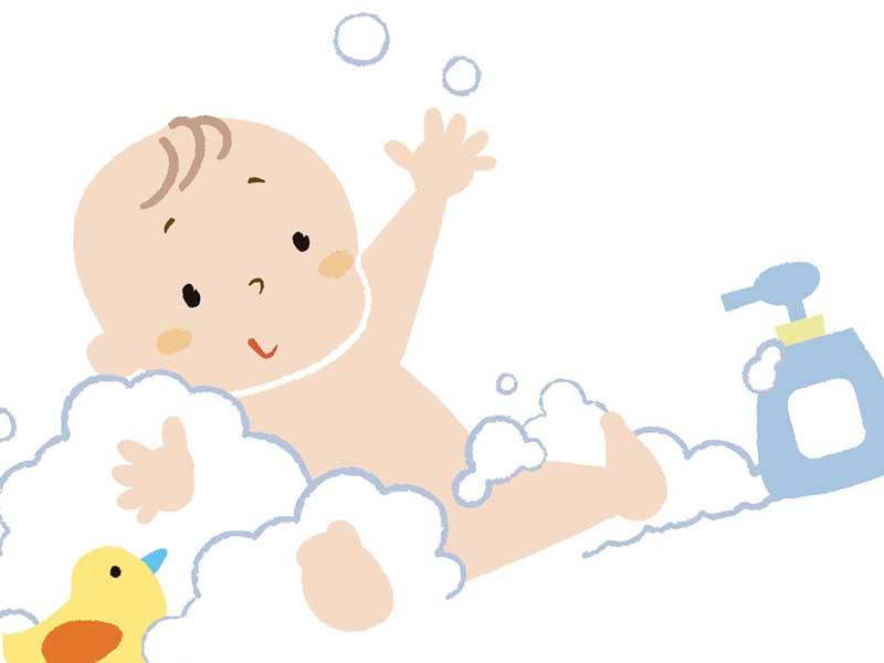 赤ちゃん用ボディソープで泡まみれになっている赤ちゃんのイラスト