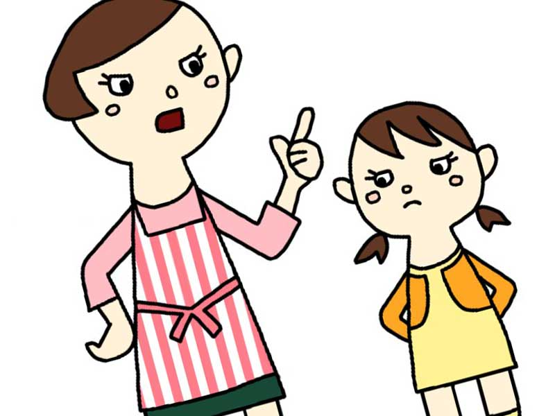 子どもに怒っているお母さんのイラスト