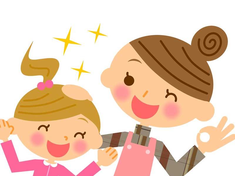 子どもを褒めるお母さんのイラスト