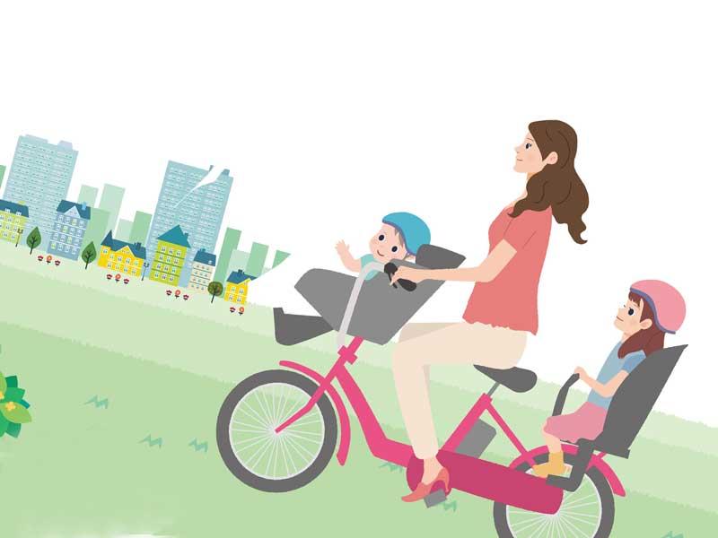 こどもを自転車に乗せているお母さんのイラスト