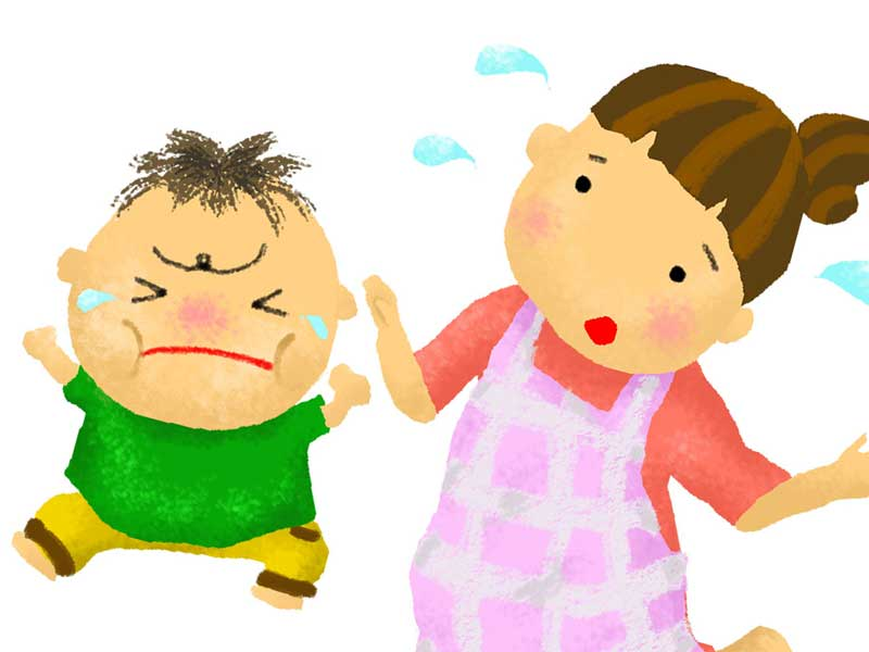 泣きながらわがままを言っている子供と困っているお母さんのイラスト