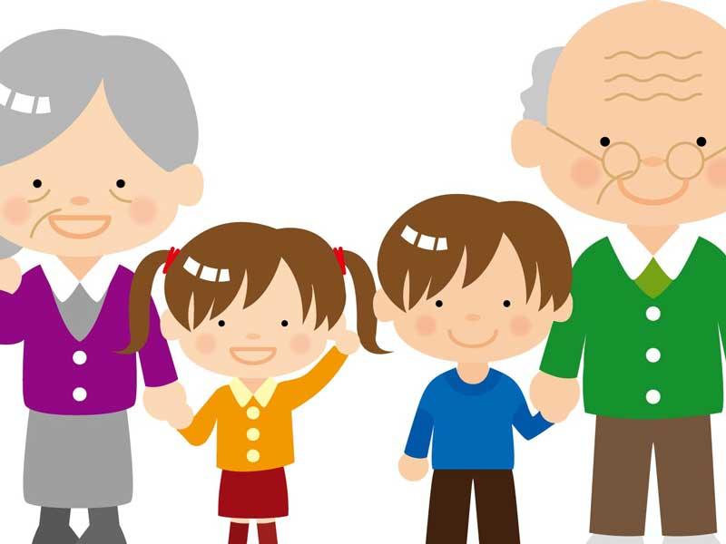 祖父母と孫のイラスト