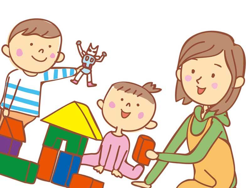保育園で遊ぶ子供達のイラスト